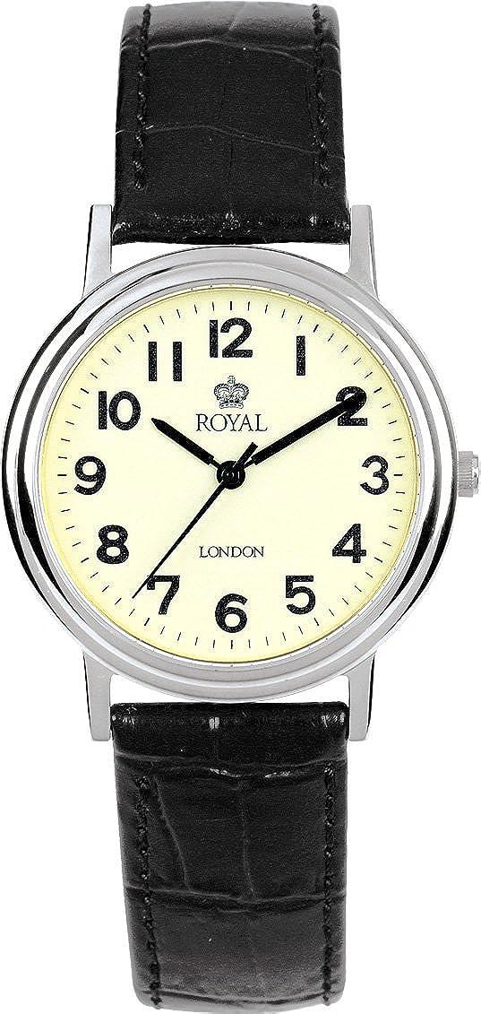 Royal London 40000-03 - Reloj analógico de Cuarzo para Hombre con Correa de Piel, Color Negro