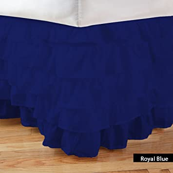 LUXURYFIT LINEN 1Pcs Box Bed Skirt Multi Ruffle Solid (Xl Drop Length 12In) Cotton