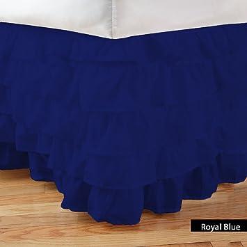 LUXURYFIT LINEN 1Pcs Box Bed Skirt Multi Ruffle Solid (Xl Drop Length 12In) Cotton
