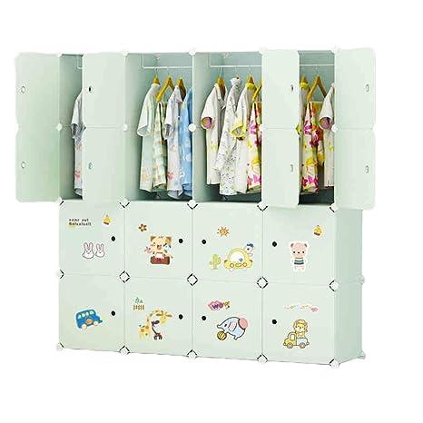 Guardaroba In Plastica.Ettbja Diy Bambini Guardaroba Di Plastica Armadio Portatile Storage Con Adesivo Progettare Il Proprio 16 Cubi Con 3 Grucce