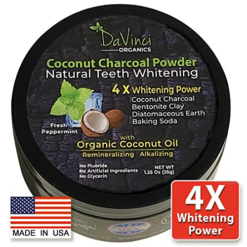 Teeth Whitening Coconut Charcoal Powder- 4X Whitening Power - All Natural & Organic Coconut Oil, Made in USA, Safe Alternative for Whitening Strips, Kit, Trays, Gel, Pen, Charcoal Whitening Toothpaste