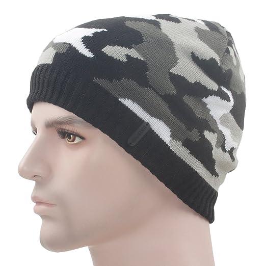 d9ce382b6e3 Original One Winter Camouflage Soft Knit Beanie Hat Fleece Lined Skull Ski  Cap (Black