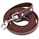 Leather Dog Leash, Genuine Leather Leash 6 FT for Large Medium Small Dogs Training and Walking (5/8'' x6ft)