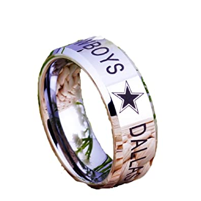 8daf1698c687a Xccesskart Jewelry 8MM Dallas Cowboys Design Men's Black with Silver Bevel  EdgeTungsten Comfort Fit Ring for Wedding