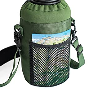 64 oz Sleeve / Carrier with Paracord Survival Handle by Highland Peak - The Ultimate Protective Bottle Holder - Fits Hydro Flask and Similar Bottles (Green)