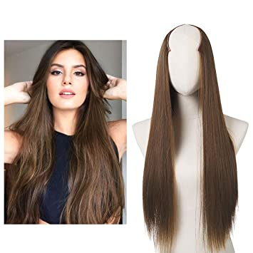 Clip in Hair Extension U shape Full Head Straight Long 24 quot  0.37lb 170g  Synthetic 98c076069b