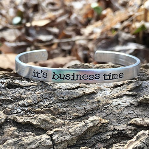 flight of the conchords - its business time - handstamped bracelet - silver - Gift Pinterest Teacher Ideas Christmas