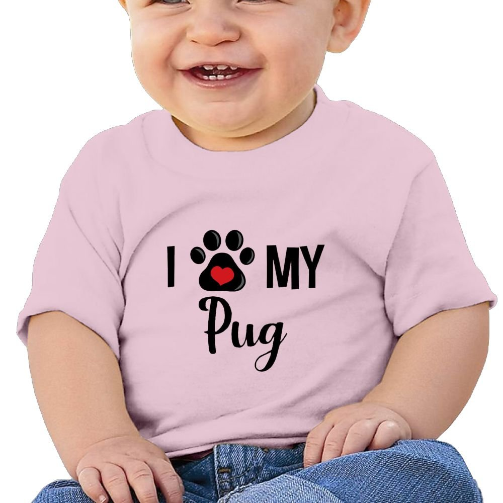 I Paw My Pug Cotton Short Sleeve T Shirts for Baby Toddler Infant