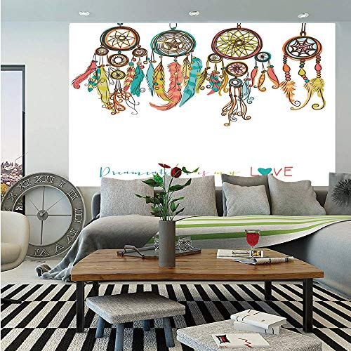 Native American Huge Photo Wall Mural,Set of Colorful Ethnic Dreamcatchers Native American Tribal Elements in Mod Graphic Decorative,Self-adhesive Large Wallpaper for Home Decor 100x144 inches,Multi