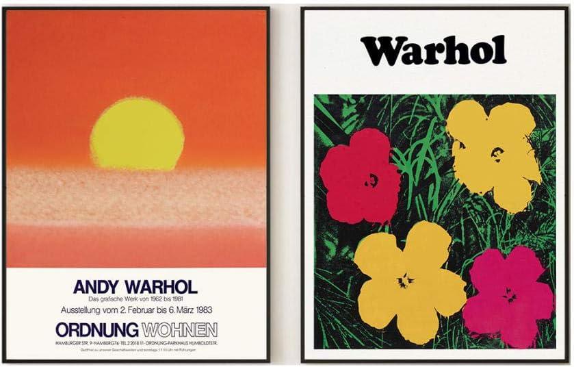 Abstracto Flores Sol Poster Andy Warhol Arte Pintura Puesta De Sol Lienzo Impresiones Quemado Naranja Pared Arte Cuadros Salon Dormitorio Decoracion 40x60cmx2 No Marco