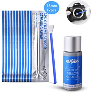 Rangers 12pcs Dry APS-C Sensor Cleaning Swab and 15ml Cleaner Solution for DSLR CCD CMOS Camera, Lens, Glasses. Vacuum Packaging, Lint-free Sterile Fabric