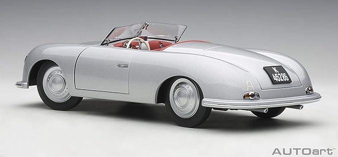 AUTOart 1948 Porsche 356 Number 1 Convertible Revised Edition Silver 1//18 Model Car 78072