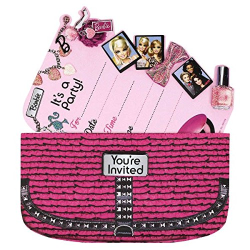 Invitation Birthday Barbie Card - Amscan Barbie Handbag Party Invitation Card (8 Piece), Pink, 7.4