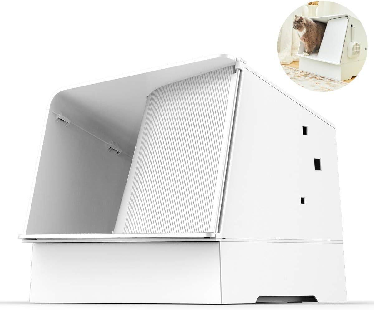PETKIT Cat Litter Box, White Villa Semi-Enclosed Cat Litter Box with Litter Scoop, Low Entry, LED Light, Ventilated Litter Box for Cats Lighter Than 18lbs