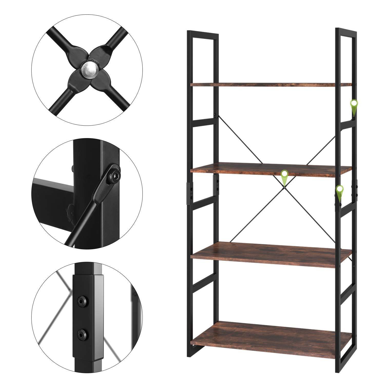 Homfa Bookshelf Rack 4 Tier Vintage Bookcase Shelf Storage Organizer Modern Wood Look Accent Metal Frame Furniture Home Office