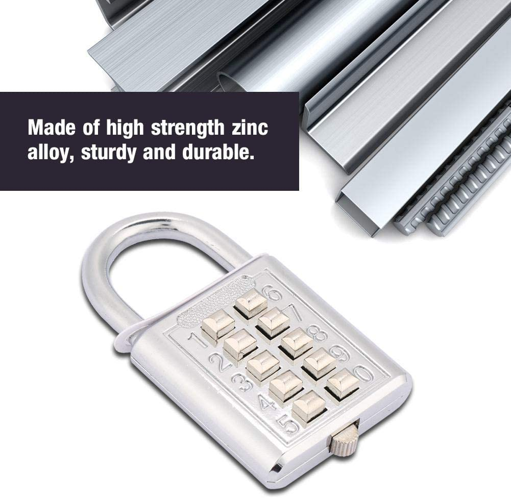 5 Digit Push Button Combination Padlock Zinc Alloy Password Lock for Door School Gym Fence Cupboard 10 keypads