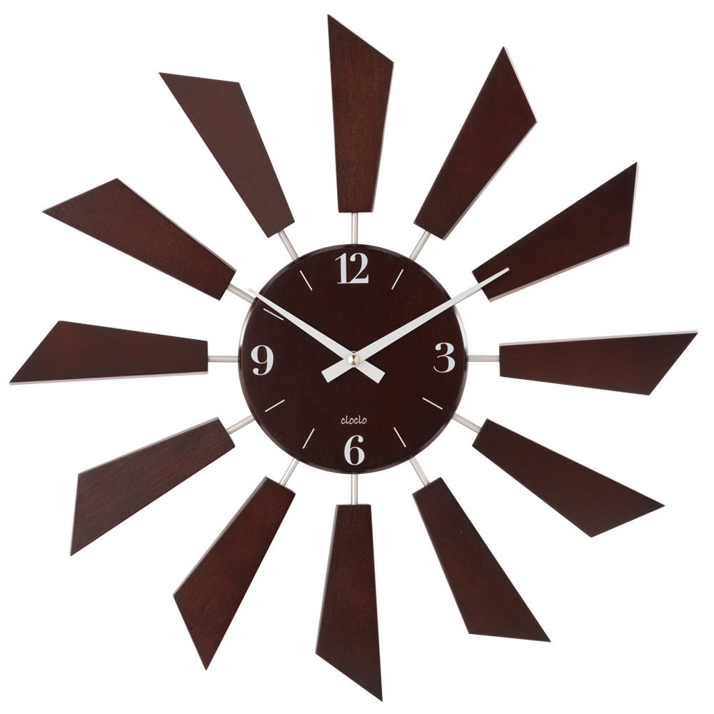 壁掛け時計 アナログ 丸型 時計 掛け時計 ウォールクロック クロック 秒針なし 木目調 生活雑貨 おしゃれ ブラウン B01E3G0S3Uブラウン