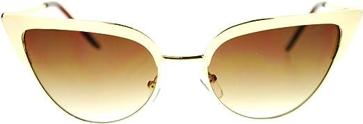 Womens Goth Metal Horn Cat Eye Mod Diva Sunglasses