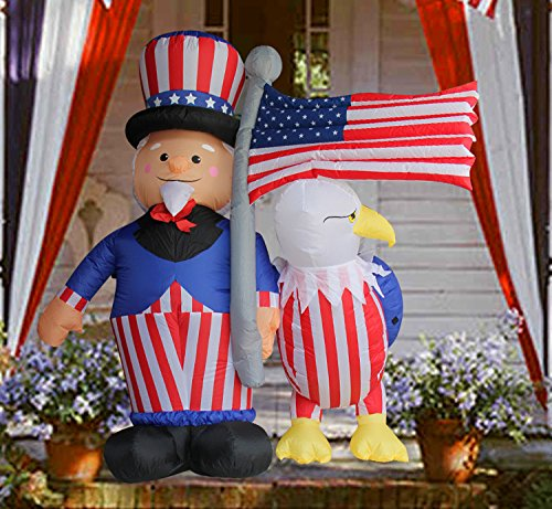 SEASONBLOW 6 Ft Patriotic Independence Day/Flag Day Inflatable Uncle Sam with Eagle & American Flag Decorations 4th of July Home Yard Outdoor Indoor Decoration from SEASONBLOW