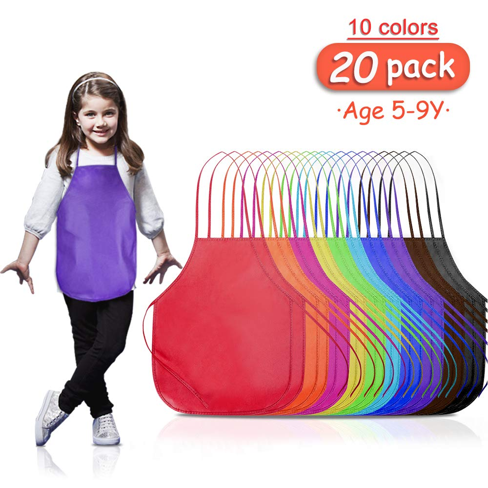 B.SHINE Kids Artist Apron - 20 Pack 3 Sizes, for Age 3 to 5, 5 to 9, 9 to 14, Children's Apron for Painting, Cooking, Baking, Craft Project, Party and School Activity (Assorted, 5-9Y)