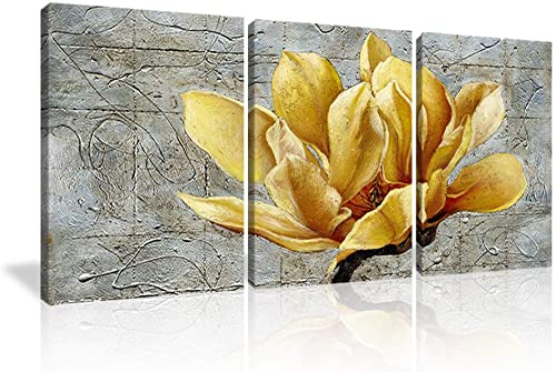 KALAWA Modern Decor Yellow and Grey Flowers Abstract Print Canvas Wall Art Yellow Flower Spring Landscape Image 3 Panel Decoration Home Office Gift 20″ W x 28″ H x 3 Panel