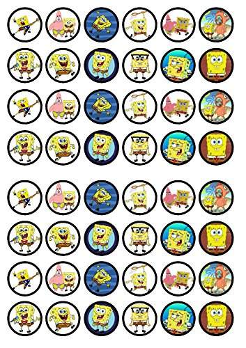 48 Spongebob Squarepants Edible PREMIUM THICKNESS SWEETENED VANILLA, Wafer Rice Paper Cupcake Toppers/Decorations -