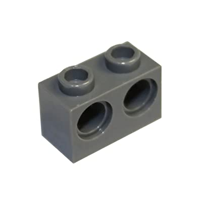 LEGO Parts and Pieces: Technic Dark Gray (Dark Stone Grey) 1x2 with Two Holes Brick x20: Toys & Games