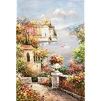 STJK$BMJW Poster En Stampe Abstracte Middellandse Zee Tuin Landschap Olieverfschilderij Muur Foto Voor Woonkamer Decor,60X80 Cm Senza Cornice