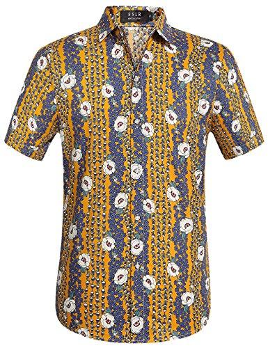 SSLR Men's Cotton Button Down Short Sleeve Hawaiian Shirt (X-Large, - Short Sleeve Cotton Shirt Adults