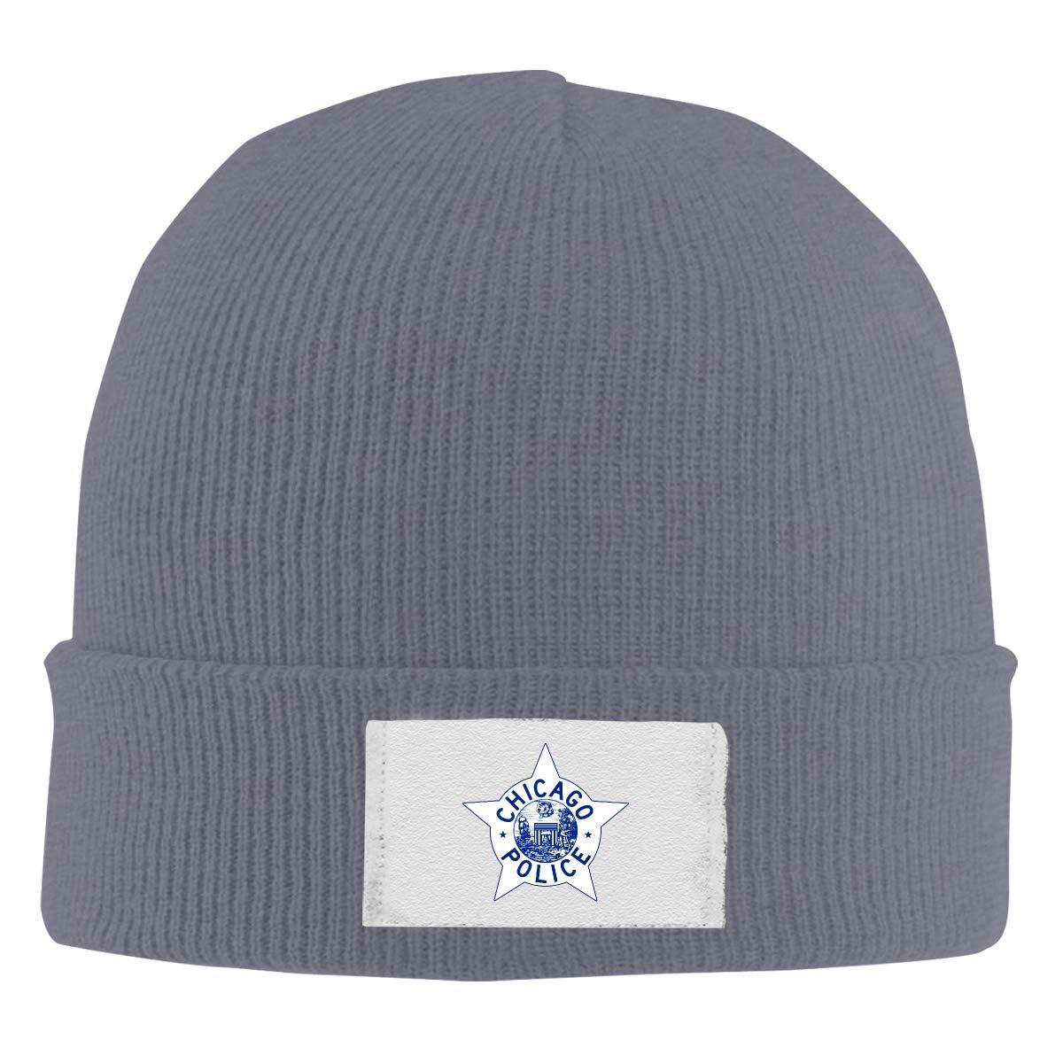 Dunpaiaa Skull Caps Chicago Police Logo Winter Warm Knit Hats Stretchy Cuff Beanie Hat Black