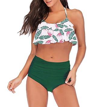 BKYY Traje de baño Mujer Damas Volante Floral Bikini De ...