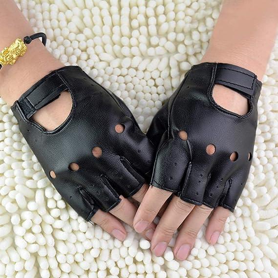 guanti da guida hip-hop punk teatrali Ogquaton Guanti mezze dita unisex in pelle artificiale unisex guanti senza dita per moto pratici e popolari