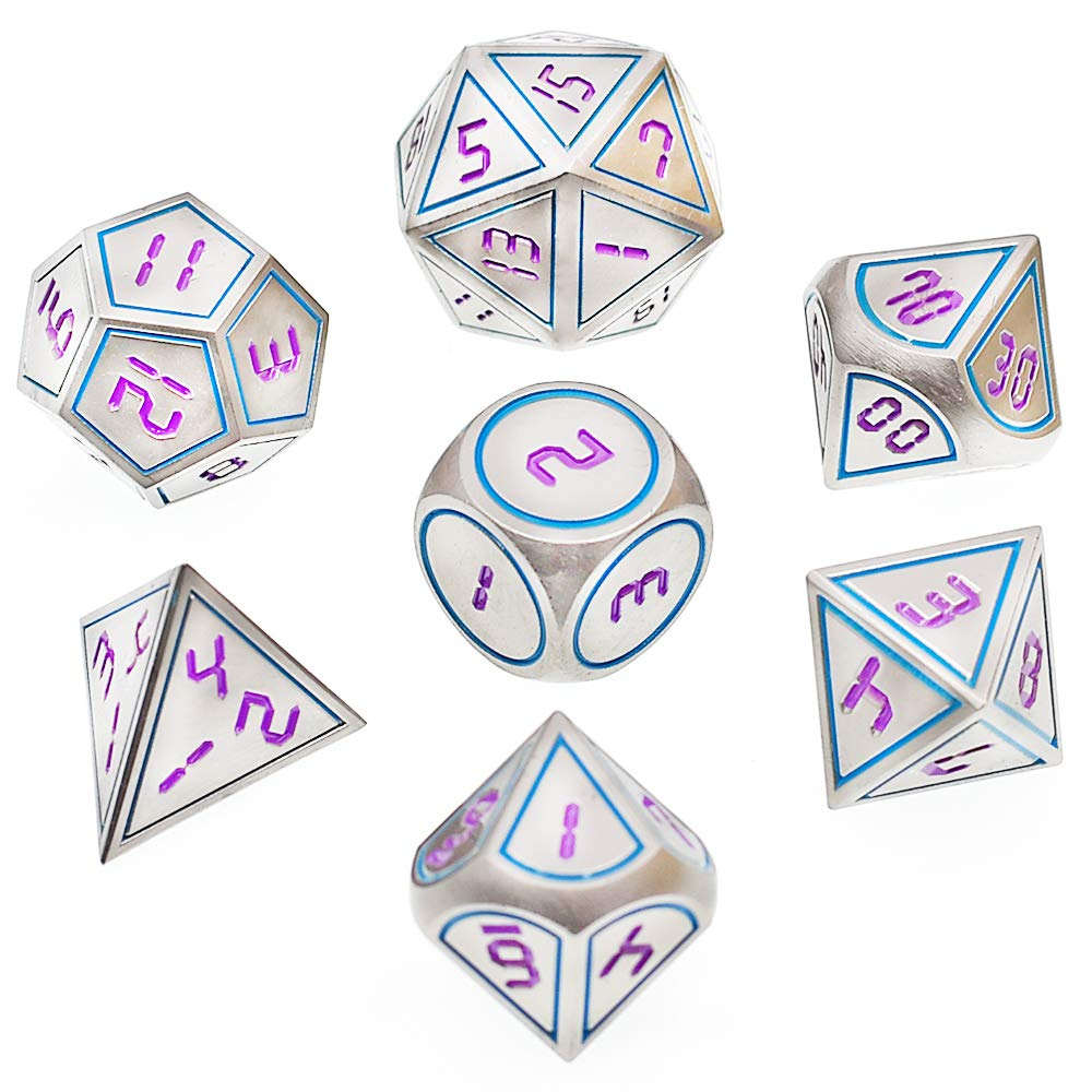 Metal Dice Set DND 7 Die Metal Polyhedral Dice Set for Role Playing Game Dungeons and Dragons D&D and Math Teaching with Dice Bag