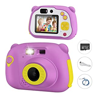 Kids Digital Camera, Enow Children 18MP HD Creative DIY Camcorder, Rechargeable Toddler Video Shockproof Mini Cameras for Girls, with Zoom Function, 2 Inch IPS Screen, 32GB TF Card, Violet
