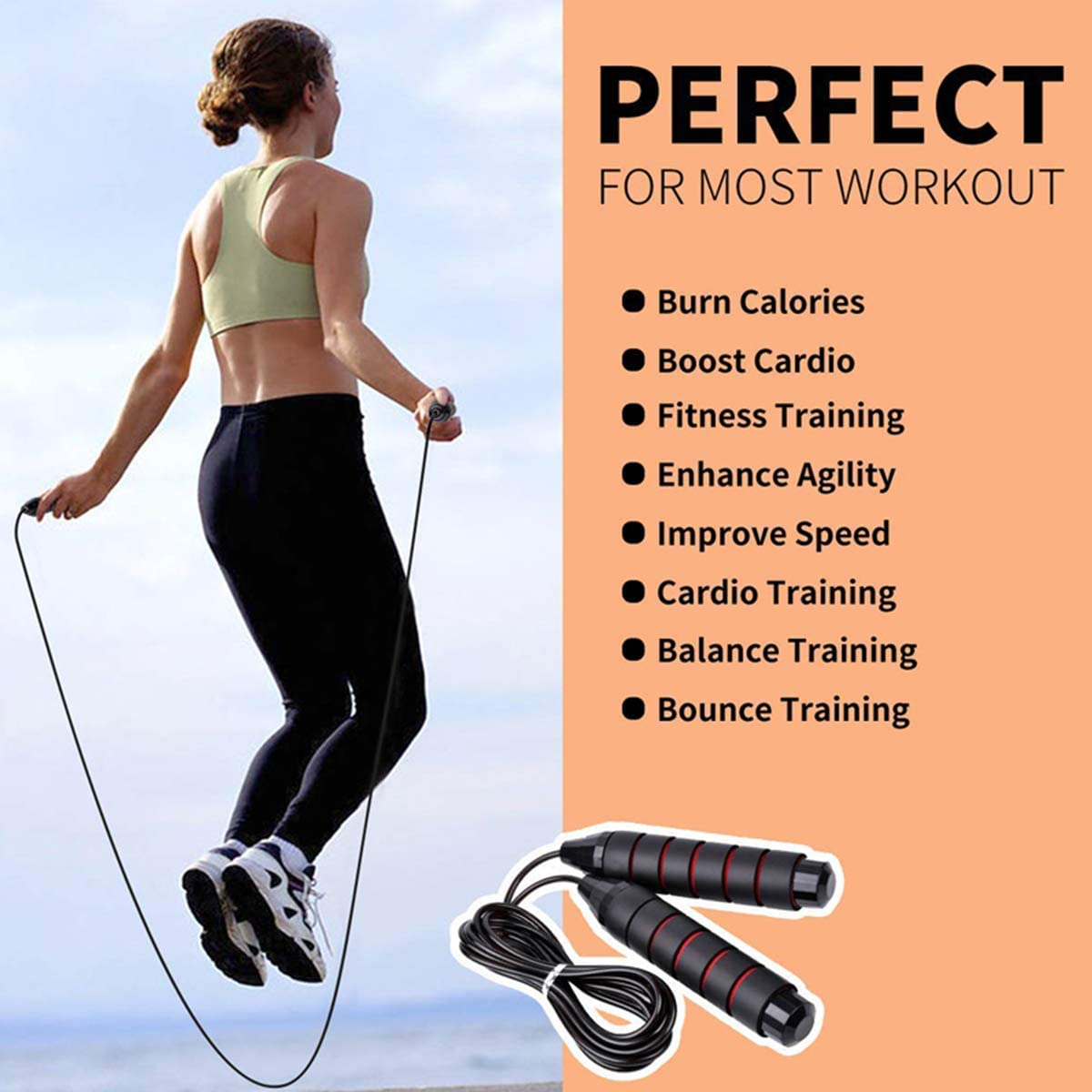 """Speed Jump Rope Tangle-Free with Ball Bearings Rapid Cable and 6/""""Memory Foam Handles for Aerobic Exercise Like Speed Training for Kids Men and Women,Endurance Training and Fitness Gym,Easy Adjust leng"""