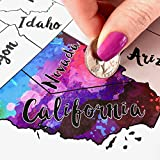 Scratch Off Map USA - Scratch The Silver Foil Of The United States & Reveal Beautiful Watercolor - By Inevitable Imports