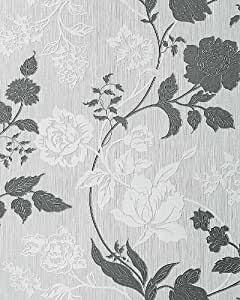 Papel pintado con diseño de flores EDEM 116-26 patrón floral en gris claro blanco platabrillantina