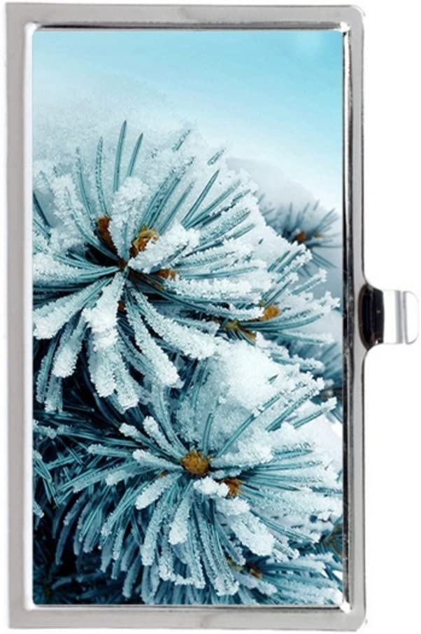 Snow Frozen Pines Image Business Name Card Holder Case
