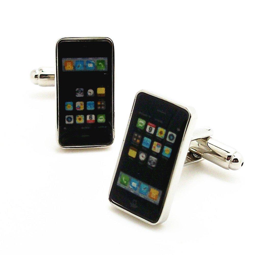 Covink Smart Phone Rhodium Plated Cufflinks with Gift Box
