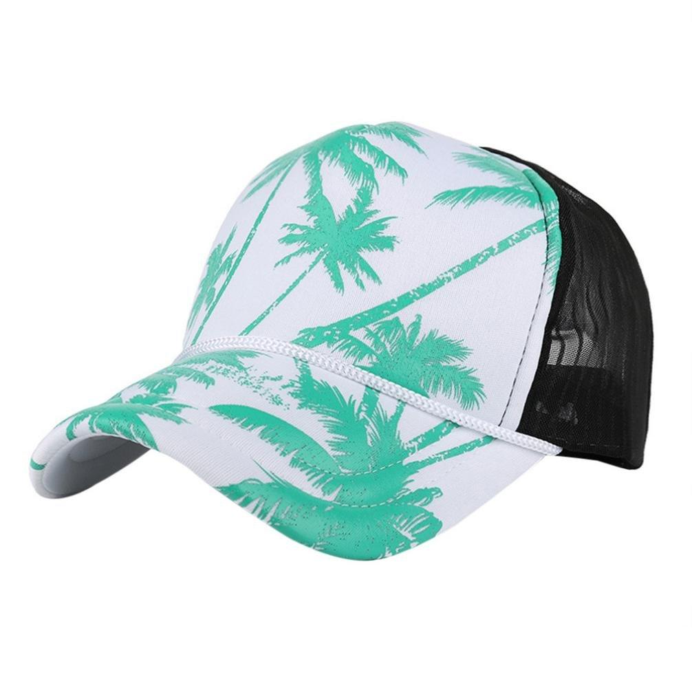 Baseball Cap Mesh Adjustable Snapback Hip Hop Flat Hat for Women Men (Green)