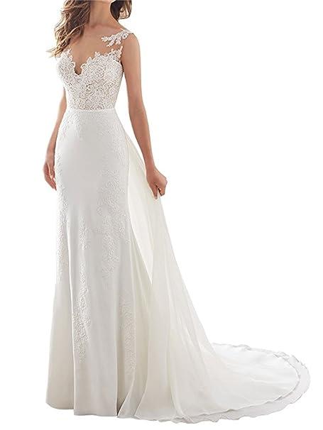 ANJURUISI Vestido de novia sin mangas de la sirena V-Back de las mujeres para la novia: Amazon.es: Ropa y accesorios