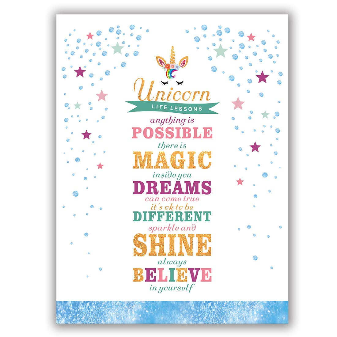 """Unicorn Art Print Set Of 1(12""""X16"""") Lettering Art Print Sparkle Star And Dots Printing Unicorn Gift For Girls, Canvas Prints Wall Pictures For Bedroom Home Decor,No Frame"""