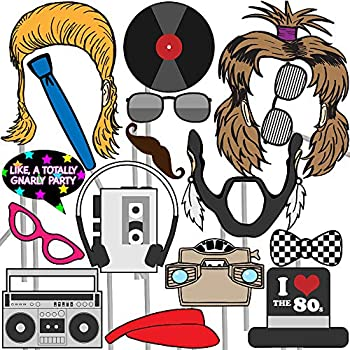musykrafties 80s Party Photo Booth Props 24 Count wd1595