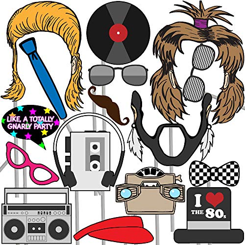 80s Photo Props (32 Pieces) for Photo Booths, Parties and More! Our Photo Prop Party Favors are Pre-Made (Not DIY) for Your -
