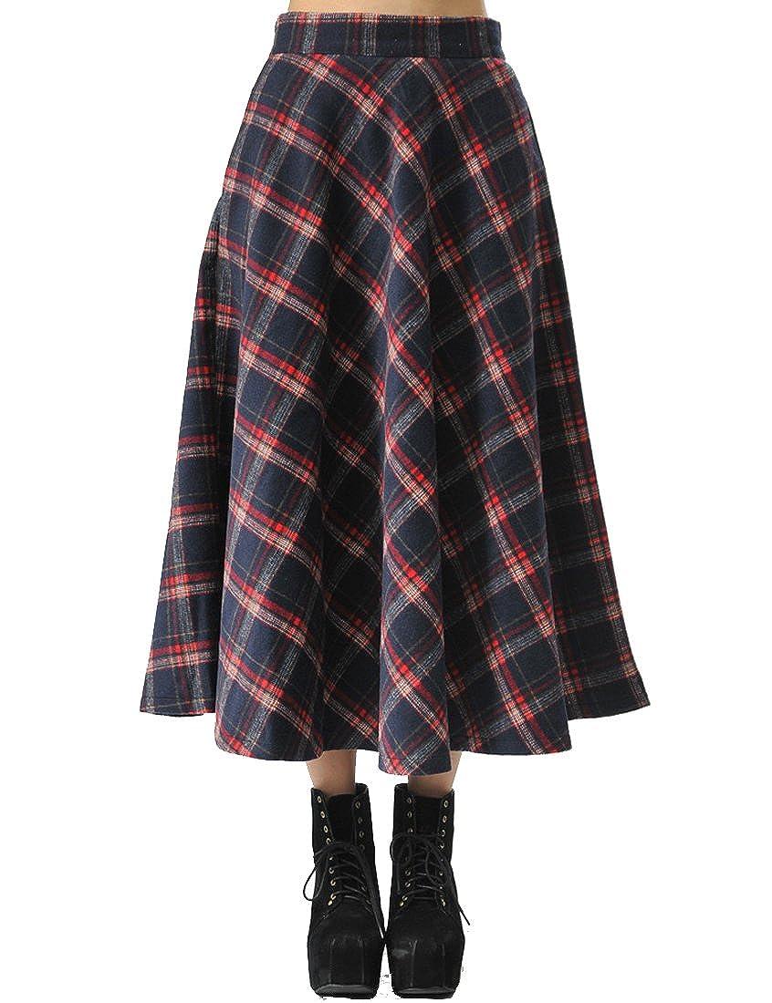 Longue jupe Teerfu en laine tricotée - En tartan plissé - Chaude - Épaisse - Pour femmes - Pour automne, hiver KL55-UK
