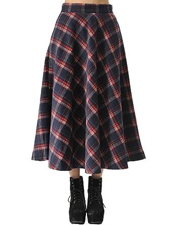 TEERFU Damen Vintage Winter Woll Herbst tartan mit hoher Taille flared röcke  Lange Kleider 5e50290a81