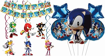Amazon Com Dawei Sonic The Hedgehog Party Packs Includes Supershape Foil Mylar Balloon 5ct And Happy Birthday Banner And Hanging Swirls Ceiling Streamers Decorations Sonic Theme Party Decorations Toys Games