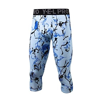 Fenta Men Sports Fitness Camouflage Pattern 3/4 Pants for Running Bicycle