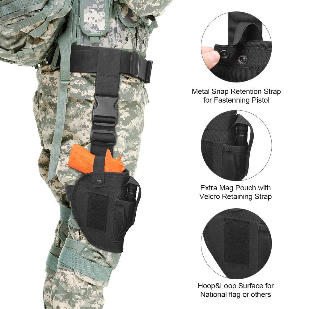 Cool Sen Dual Pistol Leg Holsters Adjustable Airsoft Gun Drop Thigh Holster, 3 pc Drop Leg Gun Holster W/ 3 Magazine Pouches Universal Drop Leg Tactical Holster