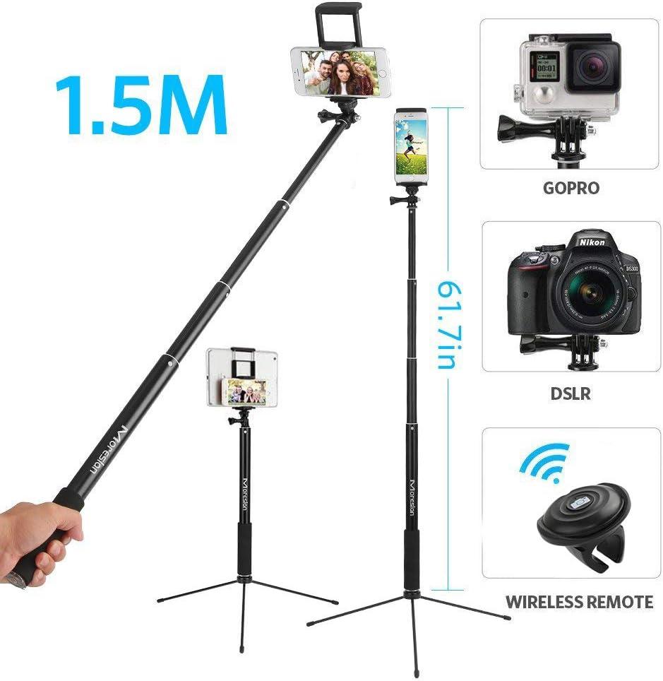 Palo Selfie,3 en 1 Palo Selfie tripode 1.5M Palo Selfie con Bluetooth Control Remoto Selfie Stick Extensible con Rotación de 360° para Gopro/iPhone 11/11 Pro/XS Max/XR/8/8 Plus, Huawei, Xiaomi